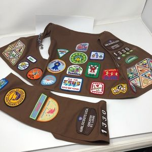 St Louis Brownie Girl Scout Vest Sash 50 Patches